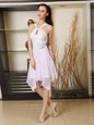 Comfortable White Criss Cross Halter Top Hand Made Flower Junior Homecoming Dress Chiffon Sleeveless