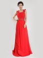 Coral Red Sleeveless Beading and Ruching Floor Length Prom Party Dress