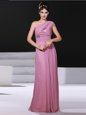 One Shoulder Lilac Chiffon Criss Cross Sleeveless Ruching