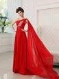 Ideal One Shoulder Sleeveless Ruching and Bowknot Zipper Prom Gown