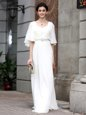 High End White Half Sleeves Beading Floor Length Mother Of The Bride Dress