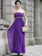 On Sale Ankle Length Column/Sheath Sleeveless Purple Prom Gown Zipper