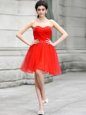 Super Chiffon Sweetheart Sleeveless Zipper Beading Prom Gown in Coral Red