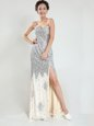 Customized Silver Sweetheart Zipper Sequins Evening Gowns Sweep Train Sleeveless