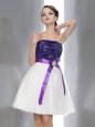 Latest White And Purple Chiffon Zipper Cocktail Dresses Sleeveless Knee Length Beading and Sashes|ribbons