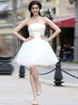 Classical White A-line Chiffon Strapless Sleeveless Beading Knee Length Lace Up Dress for Prom
