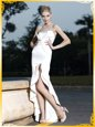 Mermaid High Low White Prom Party Dress Satin Sleeveless Lace