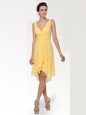 Stunning Yellow Zipper V-neck Ruching Evening Dress Chiffon Sleeveless