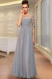 Ankle Length Column/Sheath Half Sleeves Grey Prom Evening Gown Side Zipper