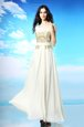 Traditional White Prom and Party and For with Beading and Ruching Scoop Sleeveless Side Zipper