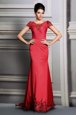 Scoop Red Short Sleeves Satin Court Train Clasp Handle Prom Dress for Prom and Party