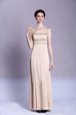 Popular Floor Length Peach Evening Dress Satin Sleeveless Beading and Ruching