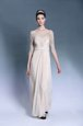 Pleated Bateau Short Sleeves Zipper Mother Of The Bride Dress Champagne Chiffon
