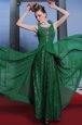 Beautiful Dark Green Oscars Dresses Prom and Party and For with Beading Scoop Sleeveless Side Zipper