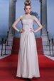 Sweet Bateau Sleeveless Prom Dress Floor Length Beading and Lace and Ruching Silver Chiffon