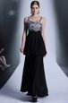 Glamorous Black Spaghetti Straps Neckline Embroidery and Sequins and Hand Made Flower Evening Dress Sleeveless Side Zipper
