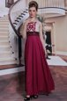 Captivating Burgundy Bateau Neckline Beading and Appliques Dress for Prom Sleeveless Side Zipper