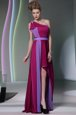 Exceptional Column/Sheath Oscars Dresses Burgundy One Shoulder Chiffon Sleeveless High Low Side Zipper