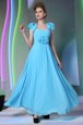 Sweet Baby Blue Zipper Prom Dress Beading and Hand Made Flower Cap Sleeves Floor Length