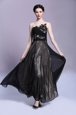 Admirable Scoop Sleeveless Side Zipper Dress for Prom Black Chiffon