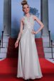 Charming Scoop Chiffon Sleeveless Floor Length Prom Evening Gown and Beading and Appliques and Ruching