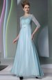 Popular Scoop Half Sleeves Beading Zipper Mother Of The Bride Dress