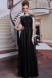 Spectacular Scoop Black Sleeveless Floor Length Beading and Appliques Zipper Prom Dress