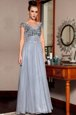 Superior Sequins Column/Sheath Prom Gown Grey Scoop Chiffon Cap Sleeves Floor Length Side Zipper