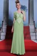 Spaghetti Straps Cap Sleeves Side Zipper Mother Of The Bride Dress Olive Green Chiffon