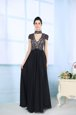 Eye-catching High-neck Short Sleeves Mother Of The Bride Dress Floor Length Beading and Lace Black Chiffon