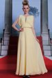 Scoop Floor Length Side Zipper Dress for Prom Light Yellow and In for Prom and Party with Beading
