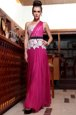Unique One Shoulder Ankle Length Column/Sheath Sleeveless Fuchsia Side Zipper