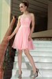 Baby Pink Scoop Side Zipper Pleated Dress for Prom Sleeveless