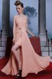 Sleeveless Chiffon Floor Length Clasp Handle Evening Outfits in Pink for with Beading and Appliques