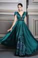 Custom Made Floor Length Dark Green Prom Dresses Satin Short Sleeves Beading and Embroidery and Belt