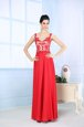 Fashionable Column/Sheath Evening Dress Coral Red Straps Chiffon Sleeveless Floor Length Zipper