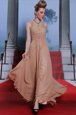 Superior Peach Column/Sheath Chiffon Scoop Sleeveless Beading and Sequins and Ruching Floor Length Clasp Handle Prom Dress
