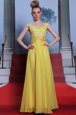 Custom Designed Pleated Floor Length Yellow Scalloped Short Sleeves Side Zipper