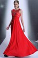 Red Prom Dress Prom and Party and For with Hand Made Flower Bateau Sleeveless Zipper