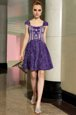 Purple Empire Square Sleeveless Lace Mini Length Zipper Beading Homecoming Dress