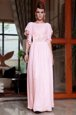 Ankle Length Pink Prom Dress Chiffon Cap Sleeves Beading and Ruching