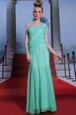 Glorious One Shoulder Turquoise Sleeveless Ruching Floor Length Prom Evening Gown