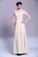 Comfortable Chiffon Bateau Sleeveless Zipper Beading and Appliques and Ruching Prom Dress in Champagne