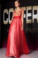 Beautiful Red Short Sleeves Appliques and Belt Floor Length Prom Evening Gown