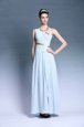 Enchanting One Shoulder Chiffon Sleeveless Floor Length Dress for Prom and Ruching and Belt