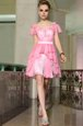 Fashion Rose Pink Square Side Zipper Belt Prom Dress Cap Sleeves