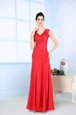 Sleeveless Chiffon Floor Length Side Zipper in Red for with Beading