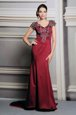 Satin Short Sleeves Mother Of The Bride Dress Court Train and Appliques