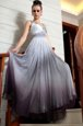 High End Multi-color Sleeveless Floor Length Beading and Appliques and Ruching Side Zipper Prom Evening Gown