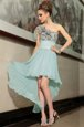 Perfect Light Blue Chiffon Side Zipper One Shoulder Sleeveless High Low Pleated